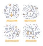 Illustrazioni di scarabocchio di vendita della filiale illustrazione di stock