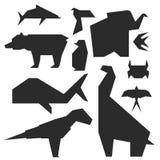 Illustrazioni di stile di origami del vettore tradizionale creativo del giocattolo del Giappone degli animali differenti Fotografia Stock Libera da Diritti