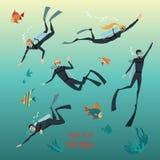 Illustrazioni di stile piano degli operatori subacquei Immagine Stock