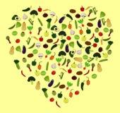 Illustrazioni di verdure di vettore dell'icona del cuore fotografia stock
