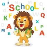 Illustrazioni di vettore del fumetto Di nuovo al tema del banco Vettore colorato delle lettere Fumetto Lion Mascot Leone diverten Immagini Stock Libere da Diritti