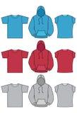 Illustrazioni di vettore del hoodie e della maglietta illustrazione di stock