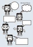 Illustrazioni di vettore: smartphone sveglio del fumetto del carattere Fotografie Stock Libere da Diritti