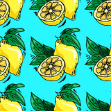 illustrazioni disegnate a mano Carta con i frutti, limoni Reticolo senza giunte fotografia stock libera da diritti