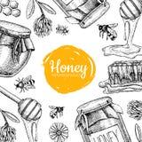 Illustrazioni disegnate a mano dell'ape del miele di vettore Insegna del miele, manifesto illustrazione di stock