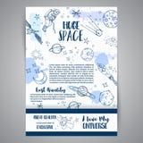 Illustrazioni disegnate a mano della carta enorme dello spazio di astronomia Disegni delle navi e dei pianeti Schizzo dell'univer illustrazione vettoriale