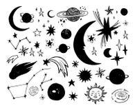 Illustrazioni disegnate a mano di vettore Elementi dello spazio Scarabocchio cosmico o illustrazione di stock