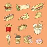 Illustrazioni disegnate a mano isolate degli alimenti a rapida preparazione su fondo arancio illustrazione vettoriale