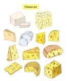 Illustrazioni disegnate a mano stabilite del formaggio Fotografia Stock Libera da Diritti