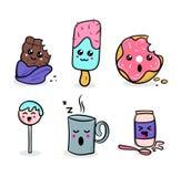 Illustrazioni dolci dei caratteri di kawaii con differenti emozioni illustrazione di stock
