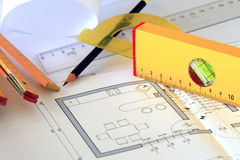Illustrazioni e strumenti architettonici Fotografia Stock Libera da Diritti