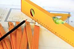 Illustrazioni e strumenti architettonici Fotografia Stock