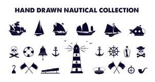 Illustrazioni marine disegnate a mano di vettore messe Fotografie Stock Libere da Diritti