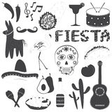 Illustrazioni messicane di vettore delle icone del partito messe Fotografie Stock