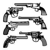 Illustrazioni monocromatiche di retro armi Pistole dell'annata dei revolver Immagini di vettore messe illustrazione di stock