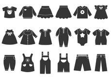 Illustrazioni monocromatiche di vettore dei vestiti dei bambini royalty illustrazione gratis