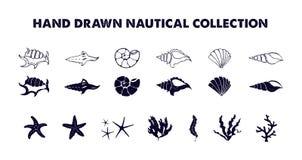 Illustrazioni nautiche disegnate a mano messe Immagini Stock