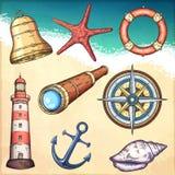Illustrazioni nautiche messe Fotografia Stock