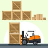 Illustrazioni piane di vettore che caricano le scatole in carrello elevatore a forcale Fotografia Stock Libera da Diritti