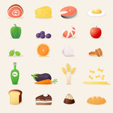 Illustrazioni realistiche di vettore delle icone dell'alimento Fotografia Stock Libera da Diritti