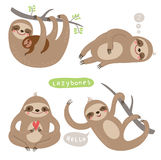 Illustrazioni stabilite dell'animale sveglio con i caratteri Fotografia Stock