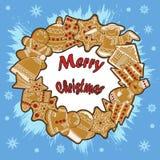 Illustrazioni su un tema di Natale, su una carta di festa Fotografia Stock