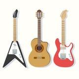 Illustrazioni sveglie delle chitarre messe Fotografie Stock Libere da Diritti