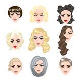 Illustrazioni sveglie di belle ragazze con vario stile di capelli Fotografia Stock Libera da Diritti