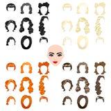 Illustrazioni sveglie di belle ragazze con vario stile di capelli Fotografia Stock