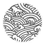Illustreert de oosterse stijl van de watergolf vector Traditionele lijnkunst grafisch Japan thais chinees royalty-vrije illustratie