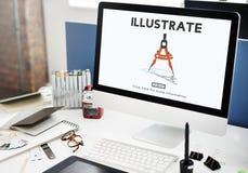 Illustrera skapar konstnärligt begrepp för fantasiidéer royaltyfri foto