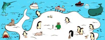 Illustrerad översikt av Antartica vektor illustrationer