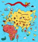 Illustrerad översikt av Europa, Asien och Afrika stock illustrationer