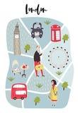 Illustrerad översikt av London med utdragna tecken för gullig och rolig hand, växter och beståndsdelar sätta på land tidskriften  royaltyfri illustrationer