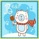 Illustrerad alfabetbokstav B och björn Royaltyfri Bild