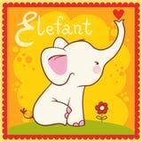 Illustrerad alfabetbokstav E och elefant. Royaltyfria Bilder