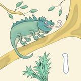 Illustrerad alfabetbokstav I och leguan Tecknad film för vektor för abcbokbild Leguanen är standind på en filial av trädet royaltyfri illustrationer