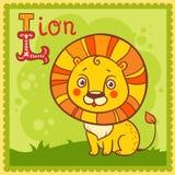 Illustrerad alfabetbokstav L och lejon. Arkivbilder