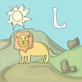 Illustrerad alfabetbokstav L och lejon Tecknad film för vektor för abcbokbild Ett lejon står på en kulle i safar Illustrerade bar stock illustrationer