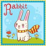 Illustrerad alfabetbokstav R och kanin. Royaltyfri Bild