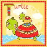 Illustrerad alfabetbokstav T och sköldpadda. Fotografering för Bildbyråer