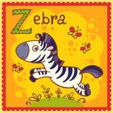 Illustrerad alfabetbokstav Z och sebra. Royaltyfri Foto