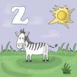 Illustrerad alfabetbokstav Z och sebra Tecknad film för vektor för abcbokbild Sebran betas på en äng i en zoo Barn` s royaltyfri illustrationer