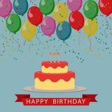 Illustrerad bild Födelsedaghälsningar med ballonger, kaka och Royaltyfri Foto