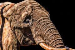 Illustrerad elefant på svart bakgrund arkivfoton