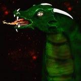 Illustrerad grön drake arkivbild