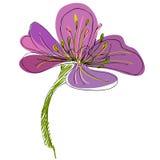 illustrerad gullig blomma Royaltyfria Bilder