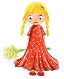 Illustrerad gullig flicka med blommor i röd klänning med vita droppar Fotografering för Bildbyråer