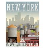 Illustrerad loppaffisch eller klistermärke för New York royaltyfri illustrationer