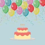 Illustrerad modell med kakan och ballonger Royaltyfri Bild